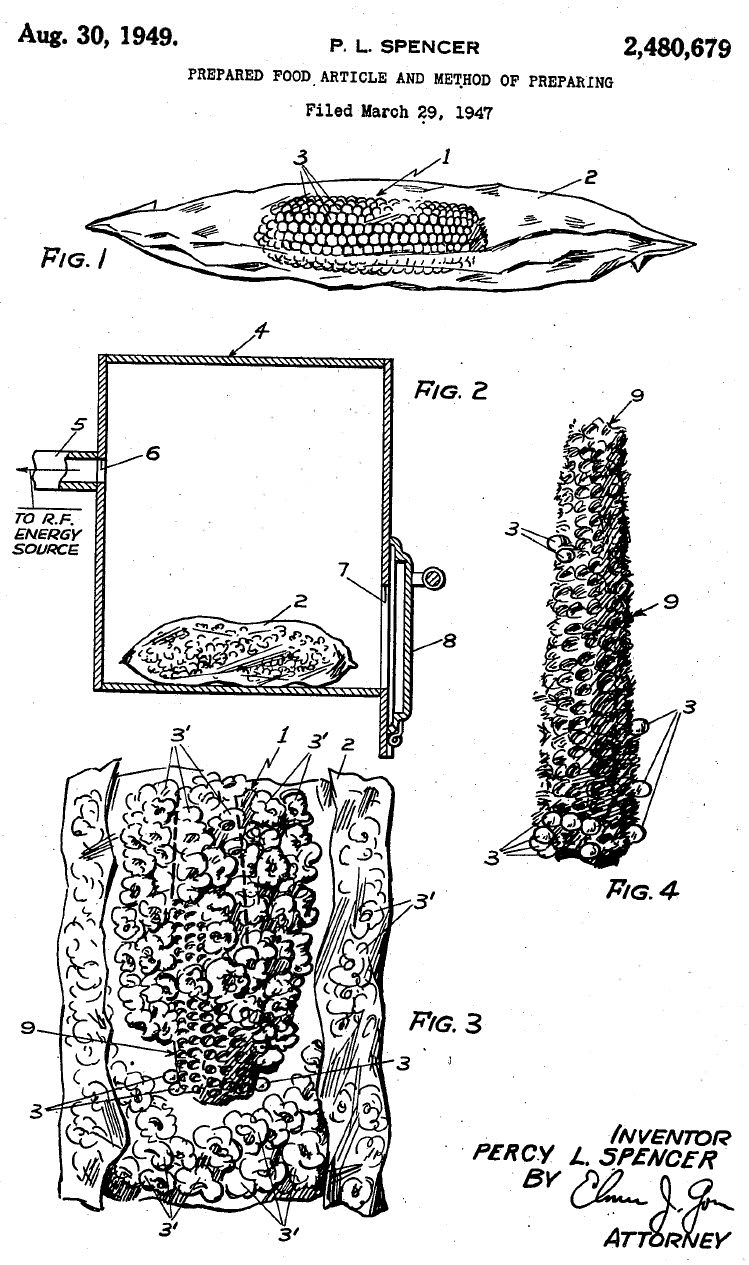 Microwave popcorn patent by Percy Spencer